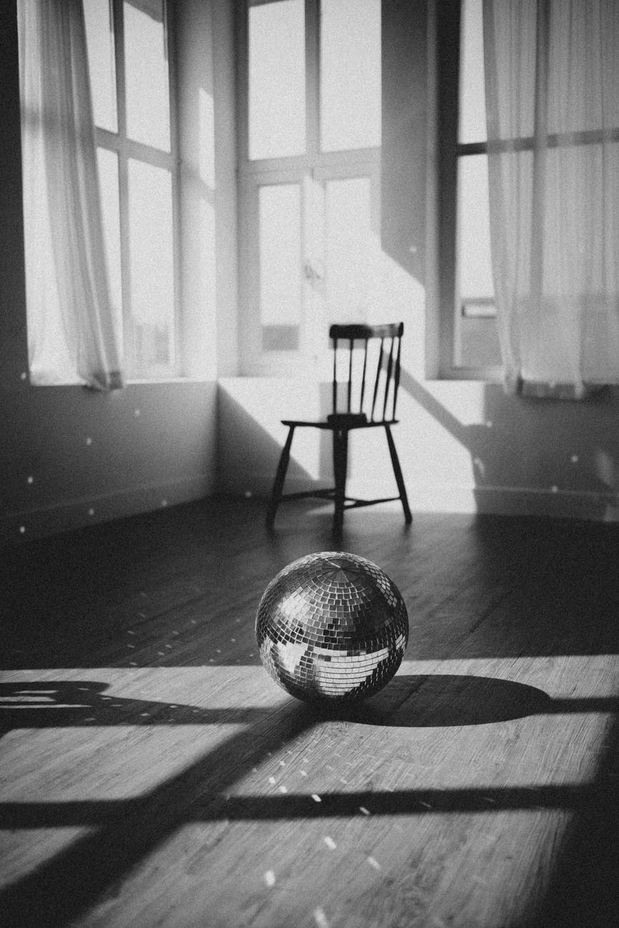 disco ball on floor in room